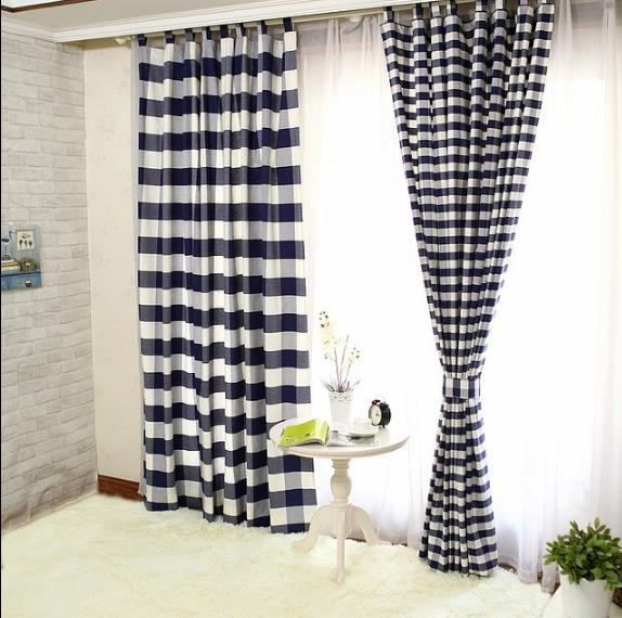 Lined Cotton Navy Black And White Buffalo Check Curtains In Classic Navy Cotton Blend Buffalo Check Kitchen Curtain Sets (View 14 of 25)