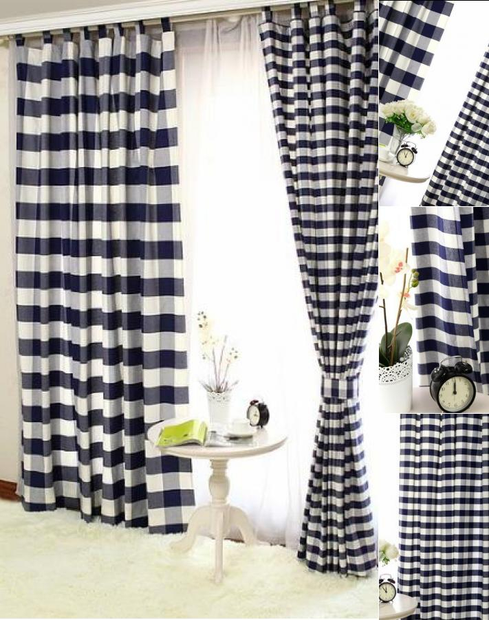 Lined Cotton Navy Black And White Buffalo Check Curtains With Classic Navy Cotton Blend Buffalo Check Kitchen Curtain Sets (View 20 of 25)