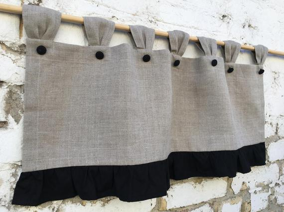 Linen Curtains Valances Ruffled Natural Flax Cottage Kitchen Curtain Simple  Rustic French Country Navy Curtains Ruffle Linen Farmhouse Decor Throughout Bermuda Ruffle Kitchen Curtain Tier Sets (Image 12 of 25)