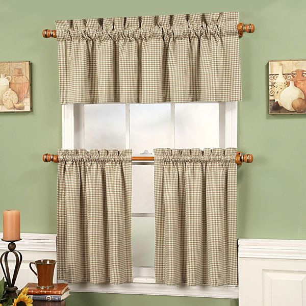 Linen Gingham Fleetwood Tier Curtains | Windowtreatments Inside Oakwood Linen Style Decorative Curtain Tier Sets (View 18 of 25)