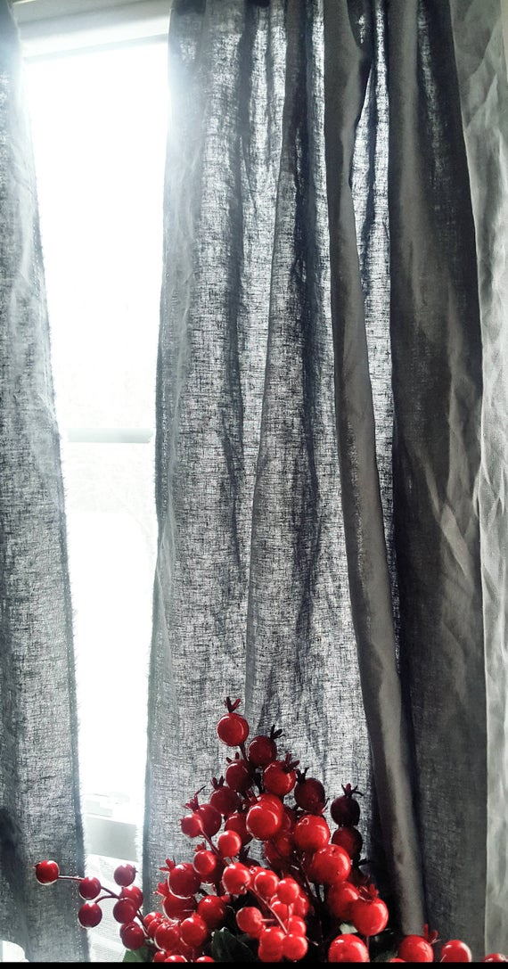 Linen Kitchen Curtains, Linen Curtains, Rustic Curtains, Bedroom Curtains,  Kitchen Curtains, Linen Gray Curtains, Two Window Panel, Regarding Red Rustic Kitchen Curtains (Image 18 of 25)
