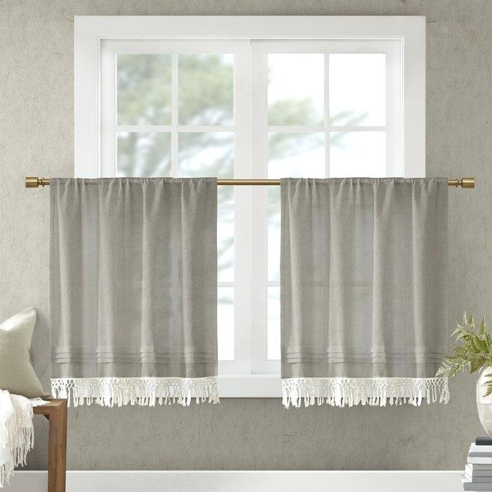 Linen Kitchen Curtains – Reginemeitan In Linen Stripe Rod Pocket Sheer Kitchen Tier Sets (View 9 of 25)
