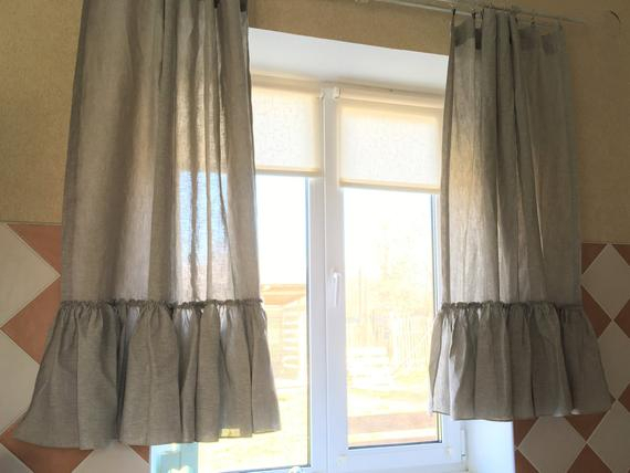 Linen Kitchen Curtains Set Ruffle Farmhouse Curtains Linen Cafe Curtain  Shabby Chic Curtains Intended For Bermuda Ruffle Kitchen Curtain Tier Sets (Image 13 of 25)