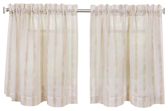 "Linen Stripe Kitchen Curtain Tier Set, 30""x24"" Pair Within Kitchen Curtain Tiers (View 5 of 25)"