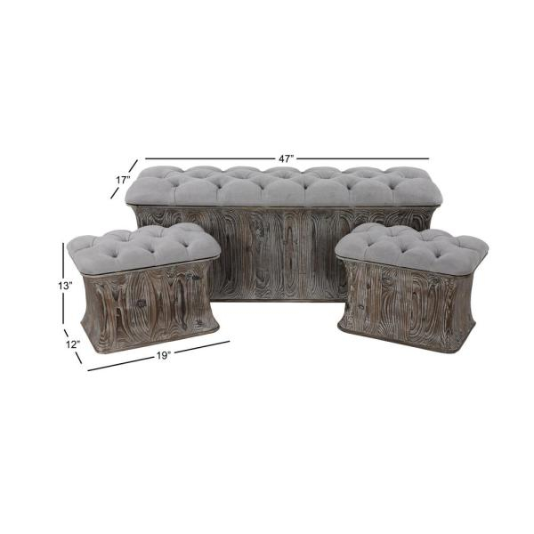 Litton Lane Gray Faux Leather Cushioned Storage Benches (Set Inside Cumberland Tier Pairs In Dove Gray (Image 12 of 25)