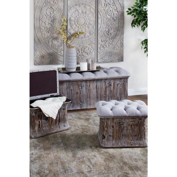 Litton Lane Gray Faux Leather Cushioned Storage Benches (Set With Regard To Cumberland Tier Pairs In Dove Gray (Image 13 of 25)