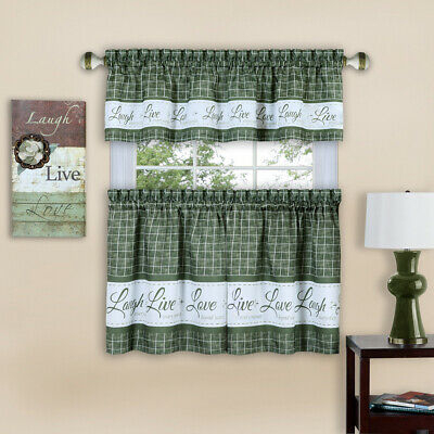 Live Laugh Love 3 Piece Kitchen Curtain Set, Green, Tiers 58X36, Swag 58X14 Inch | Ebay Throughout Solid Microfiber 3 Piece Kitchen Curtain Valance And Tiers Sets (View 4 of 25)