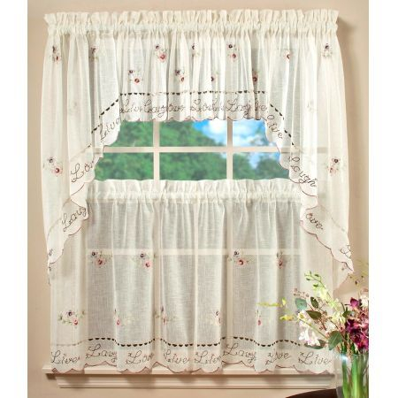 Live Laugh Love Kitchen Curtains Are Made From A Semi Sheer For French Vanilla Country Style Curtain Parts With White Daisy Lace Accent (Image 17 of 25)