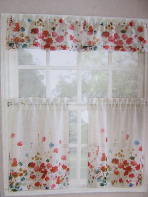 Living Colors Maggie Kitchen Tier & Valance 3 Piece Set Poppy Floral Pertaining To Microfiber 3 Piece Kitchen Curtain Valance And Tiers Sets (View 24 of 25)