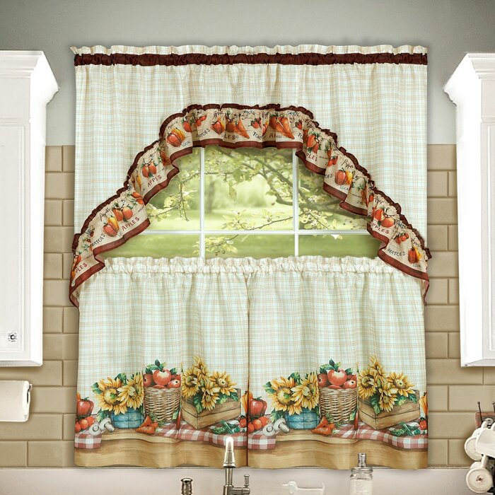 Lockport Farmers Market Printed Tier And Swag Set Inside Multicolored Printed Curtain Tier And Swag Sets (View 22 of 25)