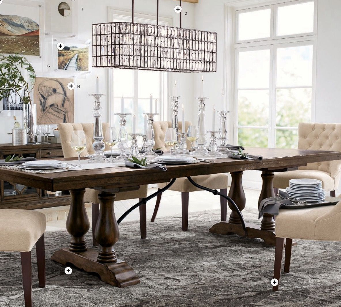 Lorraine Dining Table In Hewn Oak, Hayes Tufted Chairs In Intended For Latest Hewn Oak Lorraine Pedestal Extending Dining Tables (View 6 of 25)