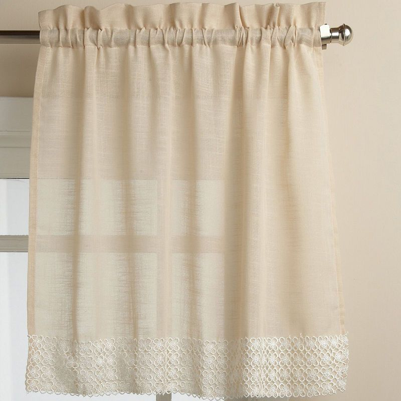 Featured Image of French Vanilla Country Style Curtain Parts With White Daisy Lace Accent