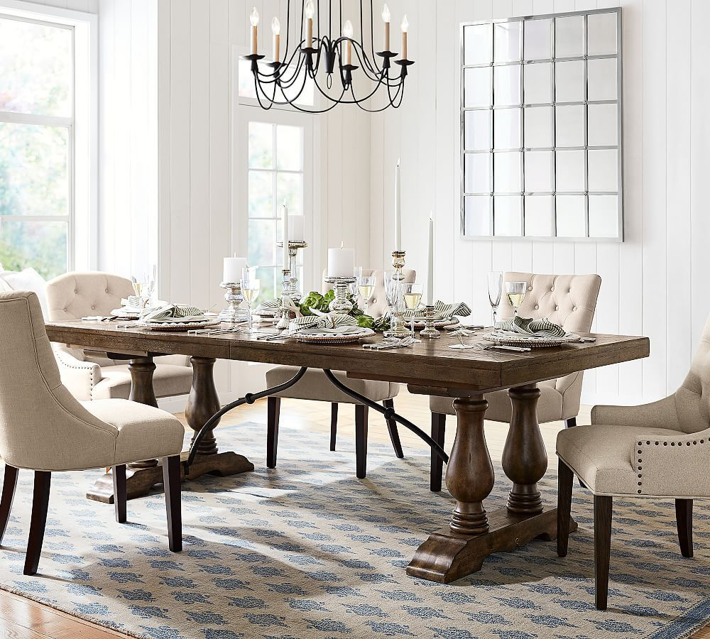 Lorraine Large Extending Dining Table, Hewn Oak At Pottery For Recent Rustic Brown Lorraine Extending Dining Tables (View 3 of 25)
