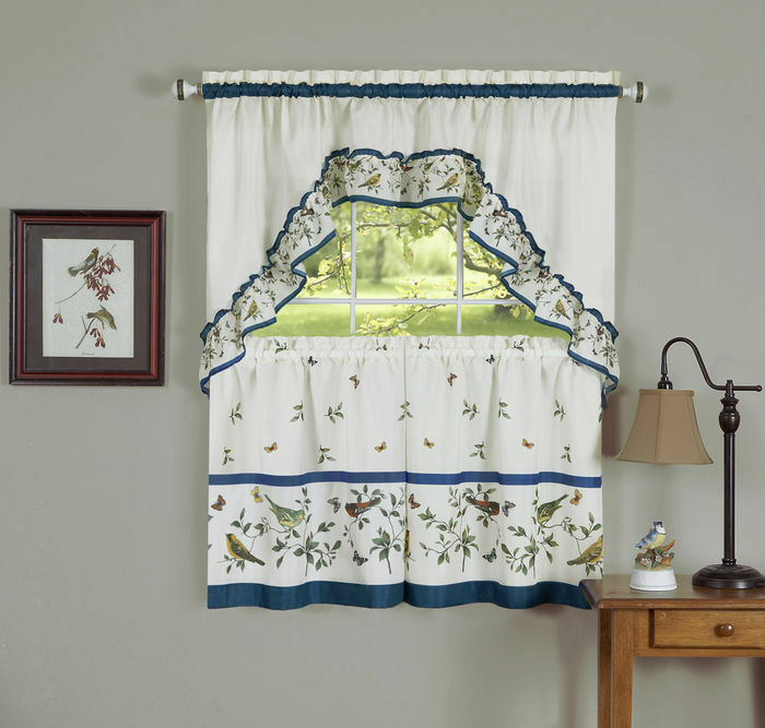 Love Birds Tier & Swag Set Complete Kitchen Curtan Birds And Butterflies | Ebay Pertaining To Multicolored Printed Curtain Tier And Swag Sets (View 4 of 25)