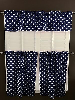 Lovemyfabric White Dots/spots On Navy Blue Print 3 Piece Curtain/valance  Set | Ebay Pertaining To Spring Daisy Tiered Curtain 3 Piece Sets (Image 13 of 25)