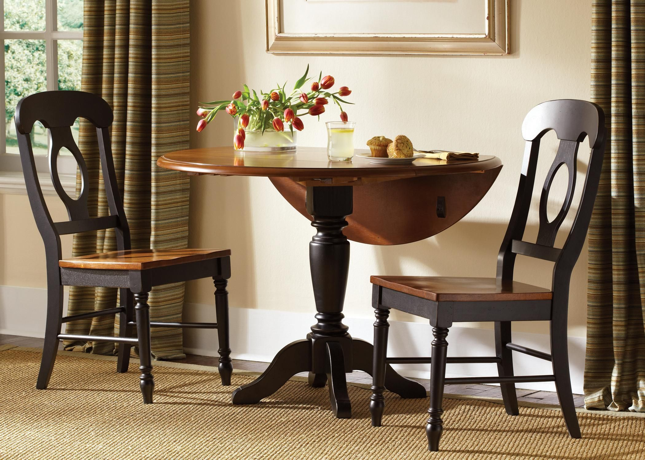 Low Country Black Drop Leaf Pedestal Table & 2 Side Chairs Intended For Recent Salvaged Black Shayne Drop Leaf Kitchen Tables (View 15 of 25)