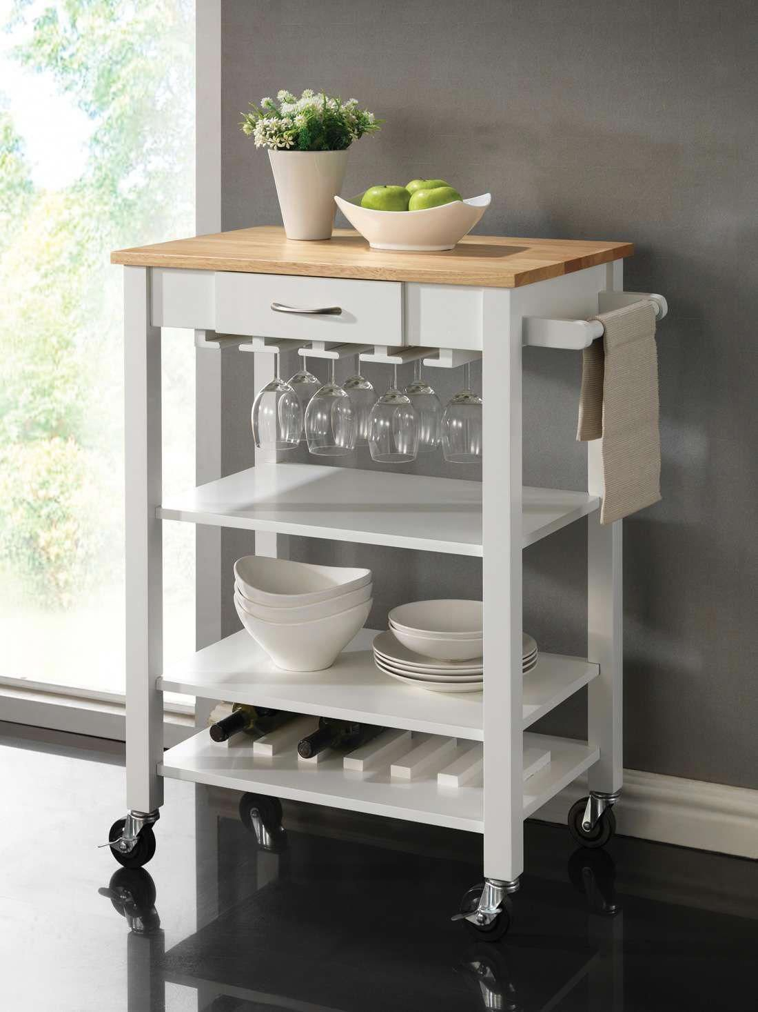 Lowest Price On Coaster White And Natural Kitchen Cart With Throughout 2018 Elworth Kitchen Island (View 11 of 25)