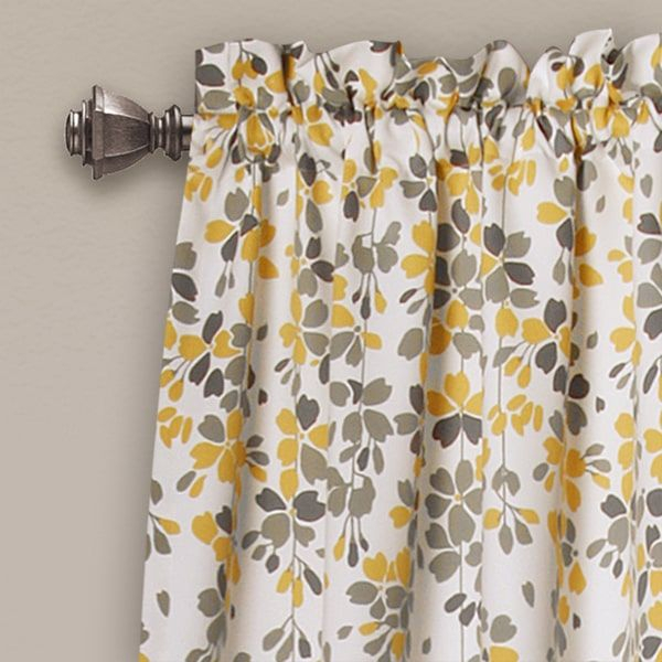 Lush Decor Weeping Flowers Room Darkening Window Curtain Pertaining To Floral Watercolor Semi Sheer Rod Pocket Kitchen Curtain Valance And Tiers Sets (View 6 of 25)