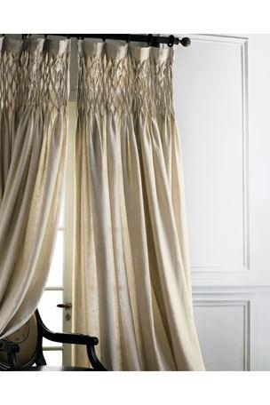 Luxury Curtains & Curtain Hardware At Neiman Marcus In Traditional Tailored Tier And Swag Window Curtains Sets With Ornate Flower Garden Print (View 20 of 25)
