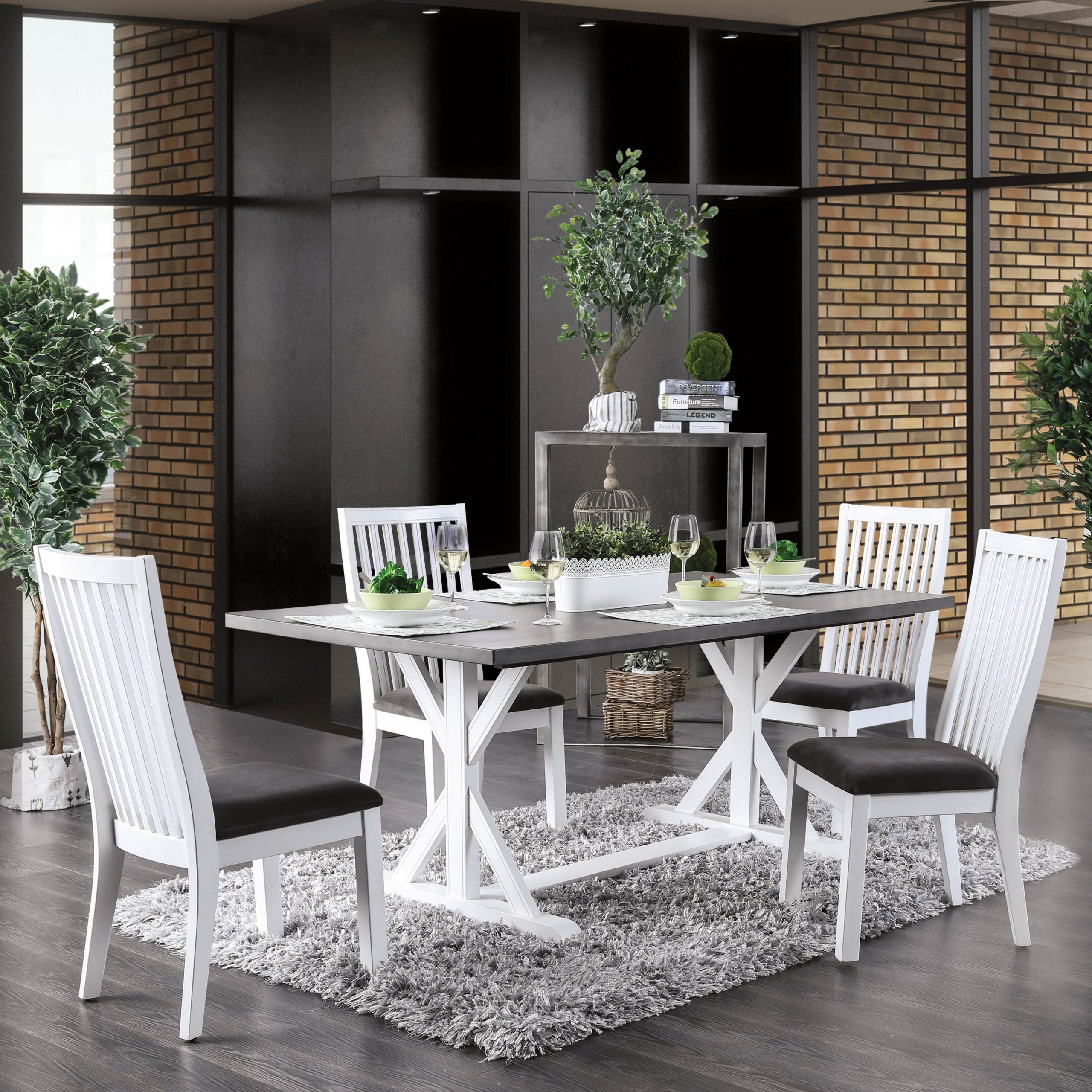 Lytton Farmhouse White 5 Piece Rectangle Dining Setfoa Intended For Most Current Kipling Rectangular Dining Tables (Image 13 of 25)