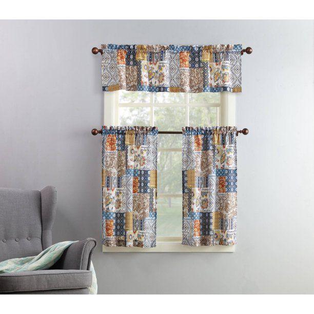 Mainstays Amelia 3 Piece Kitchen Curtain And Valance Set For Geometric Print Microfiber 3 Piece Kitchen Curtain Valance And Tiers Sets (View 3 of 25)