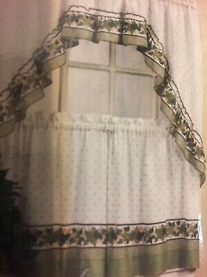 Mainstays Home Cottage Ivy Green Tier & Swag Set Kitchen In Cottage Ivy Curtain Tiers (View 3 of 25)