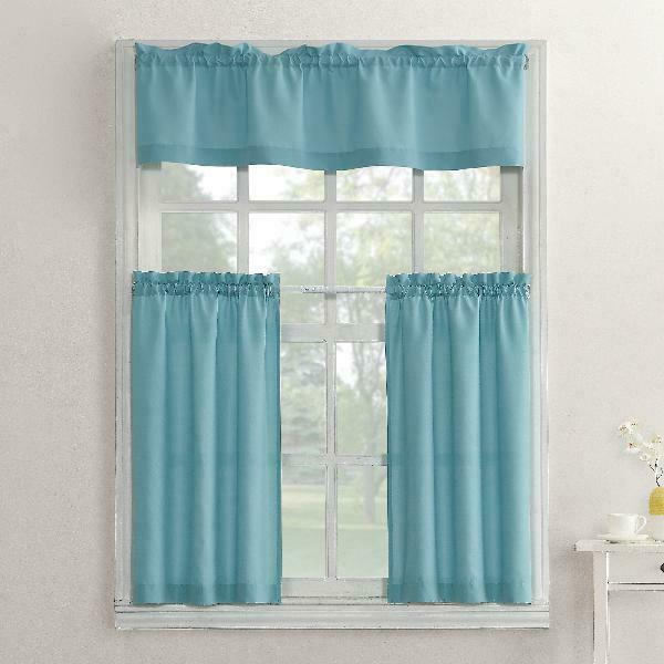 Mainstays Solid 3 Piece Kitchen Curtain Tier And Valance Set Pertaining To Microfiber 3 Piece Kitchen Curtain Valance And Tiers Sets (View 6 of 25)