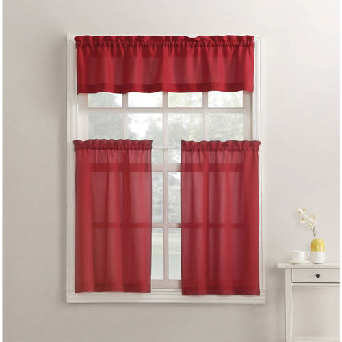 Mainstays Solid 3 Piece Kitchen Curtain Tier And Valance Set – Walmart Pertaining To Twill 3 Piece Kitchen Curtain Tier Sets (View 4 of 25)