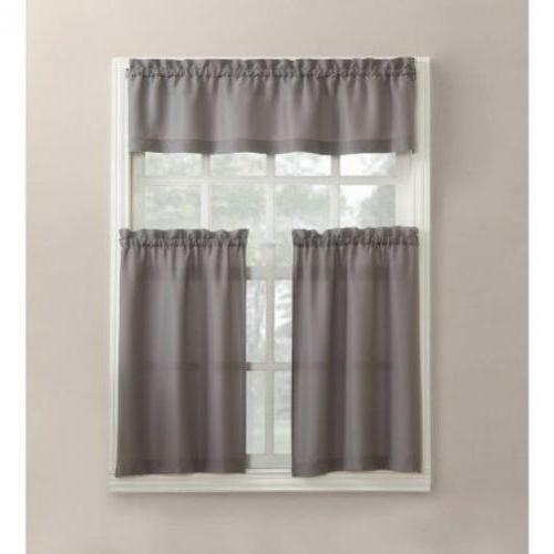 Mainstays Solid 3 Piece Tier And Valance Kitchen Curta Throughout Waverly Felicite Curtain Tiers (View 21 of 25)