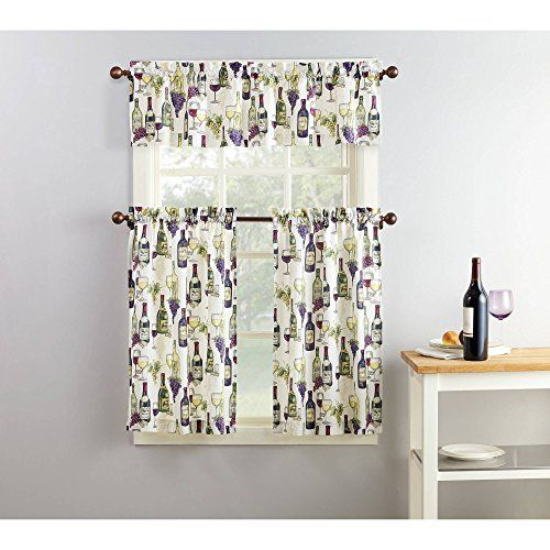 Mainstays Winery 3 Piece Kitchen Curtain And Valence Set In In Traditional Two Piece Tailored Tier And Swag Window Curtains Sets With Ornate Rooster Print (View 23 of 25)