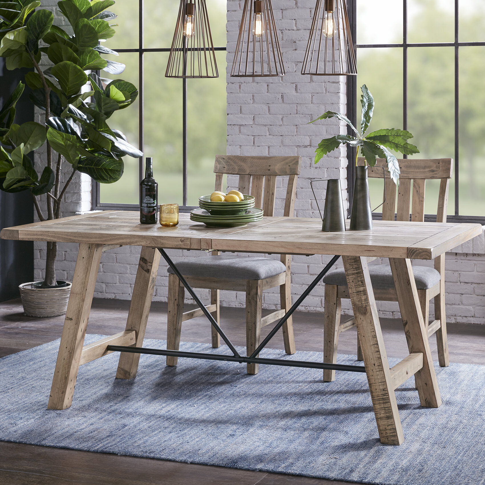 Maiorano Solid Wood Dining Table For Current Rustic Brown Lorraine Extending Dining Tables (View 19 of 25)