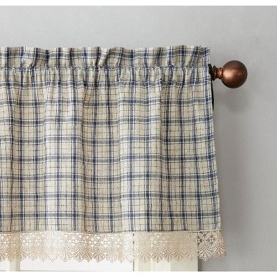 "Maisie Plaid Kitchen Curtain Tier Pair Navy (Blue) 54""x36 Intended For Dove Gray Curtain Tier Pairs (View 14 of 25)"