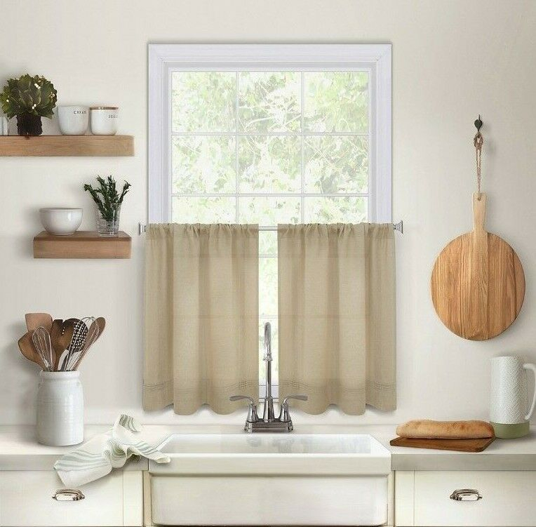 Maison 24 Inch Kitchen Window Curtain Tiers In Linen   Ebay Within Hopscotch 24 Inch Tier Pairs In Neutral (Image 12 of 25)