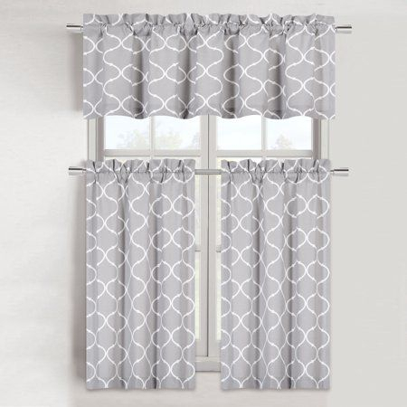 Featured Image of Cotton Blend Grey Kitchen Curtain Tiers