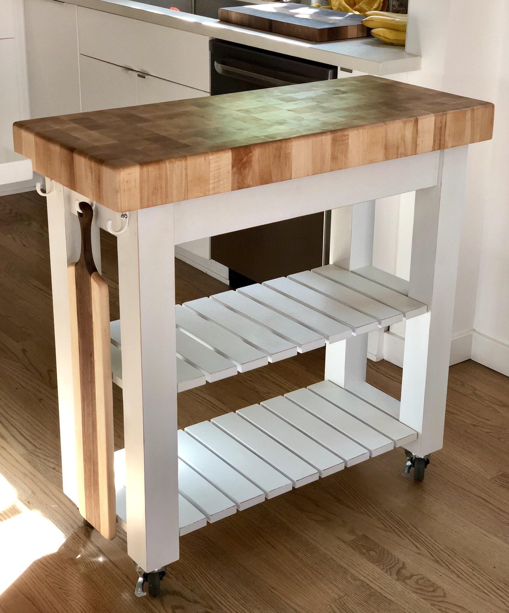 Maple Kitchen Island Butcher Block With A Hidden Drawer In Within Most Popular Elworth Kitchen Island (View 10 of 25)