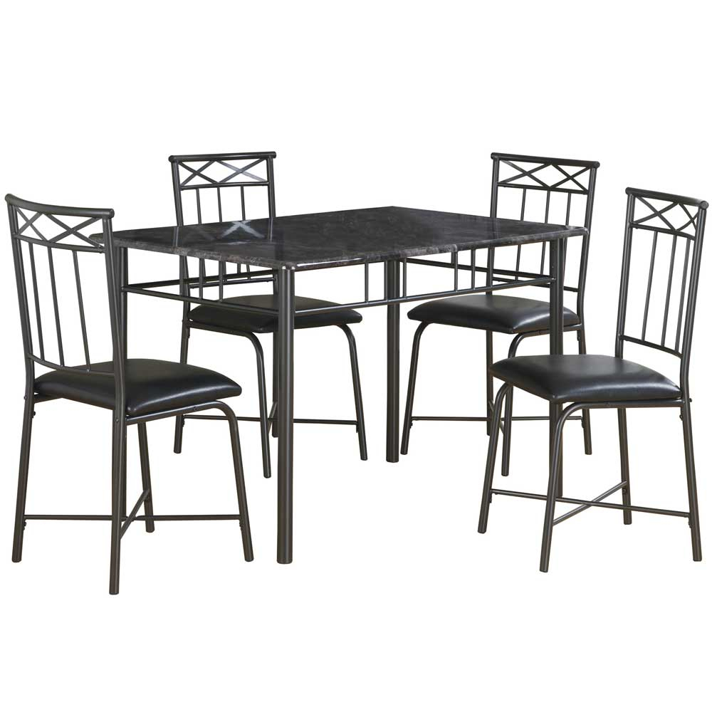 Marble Look Dining Table Set In Dinette Sets Pertaining To Most Recent Bismark Dining Tables (View 19 of 25)