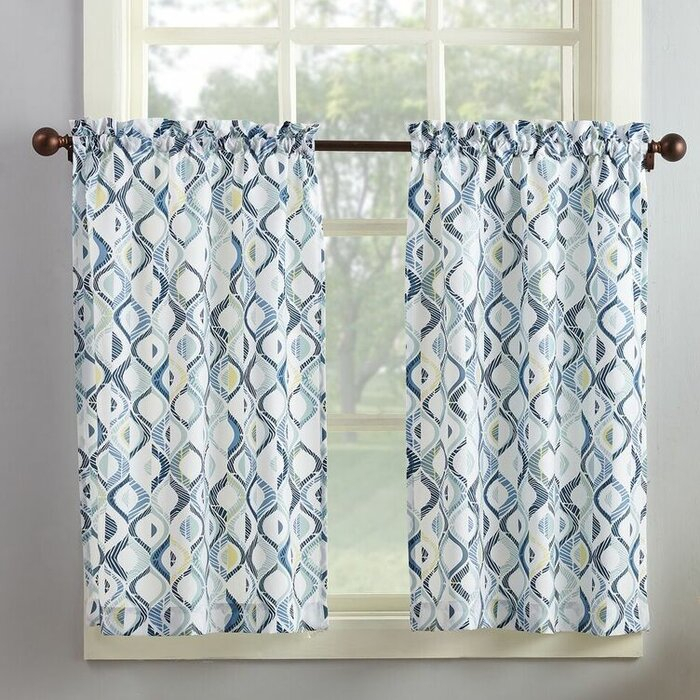 Maree Kitchen Curtain Inside Geometric Print Microfiber 3 Piece Kitchen Curtain Valance And Tiers Sets (View 5 of 25)