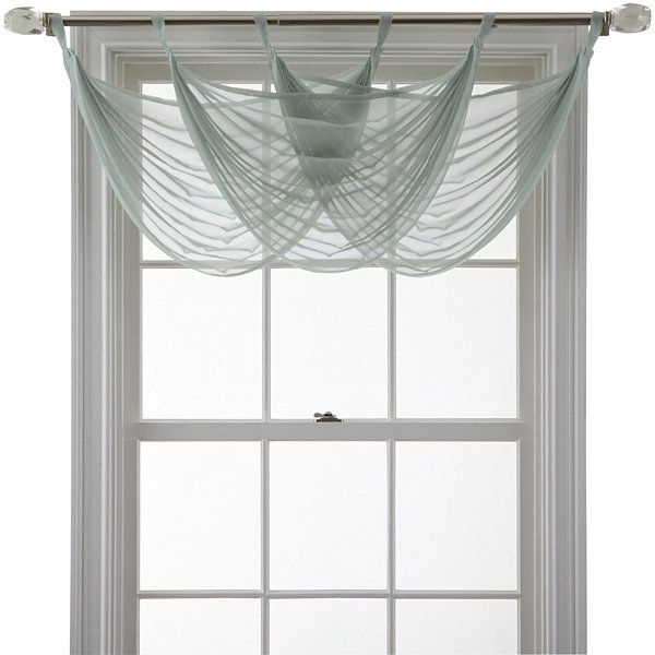 Marthawindow™ Voile Waterfall Valance – Jcpenney | House With Vertical Ruffled Waterfall Valance And Curtain Tiers (View 14 of 25)