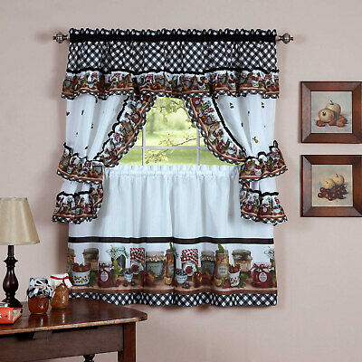Mason Jars Tier & Swag Kitchen Curtain Cottage Set, 57X36 With Cottage Ivy Curtain Tiers (View 9 of 25)