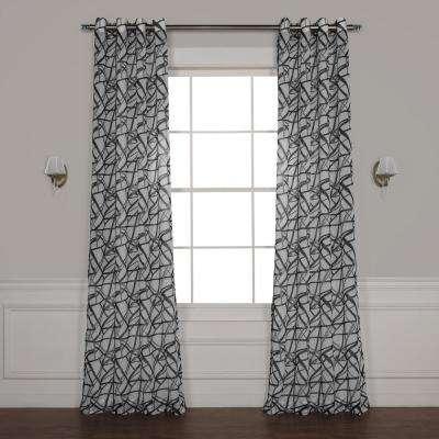 Matrix Black Grommet Printed Sheer Curtain – 50 In. W X 108 In (View 18 of 25)