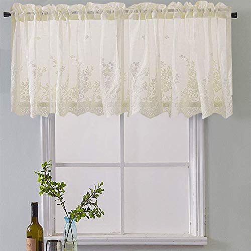 Meiyimi Half Window Voile Semi Sheer Curtain Valances – Home Pertaining To Semi Sheer Rod Pocket Kitchen Curtain Valance And Tiers Sets (Image 15 of 25)