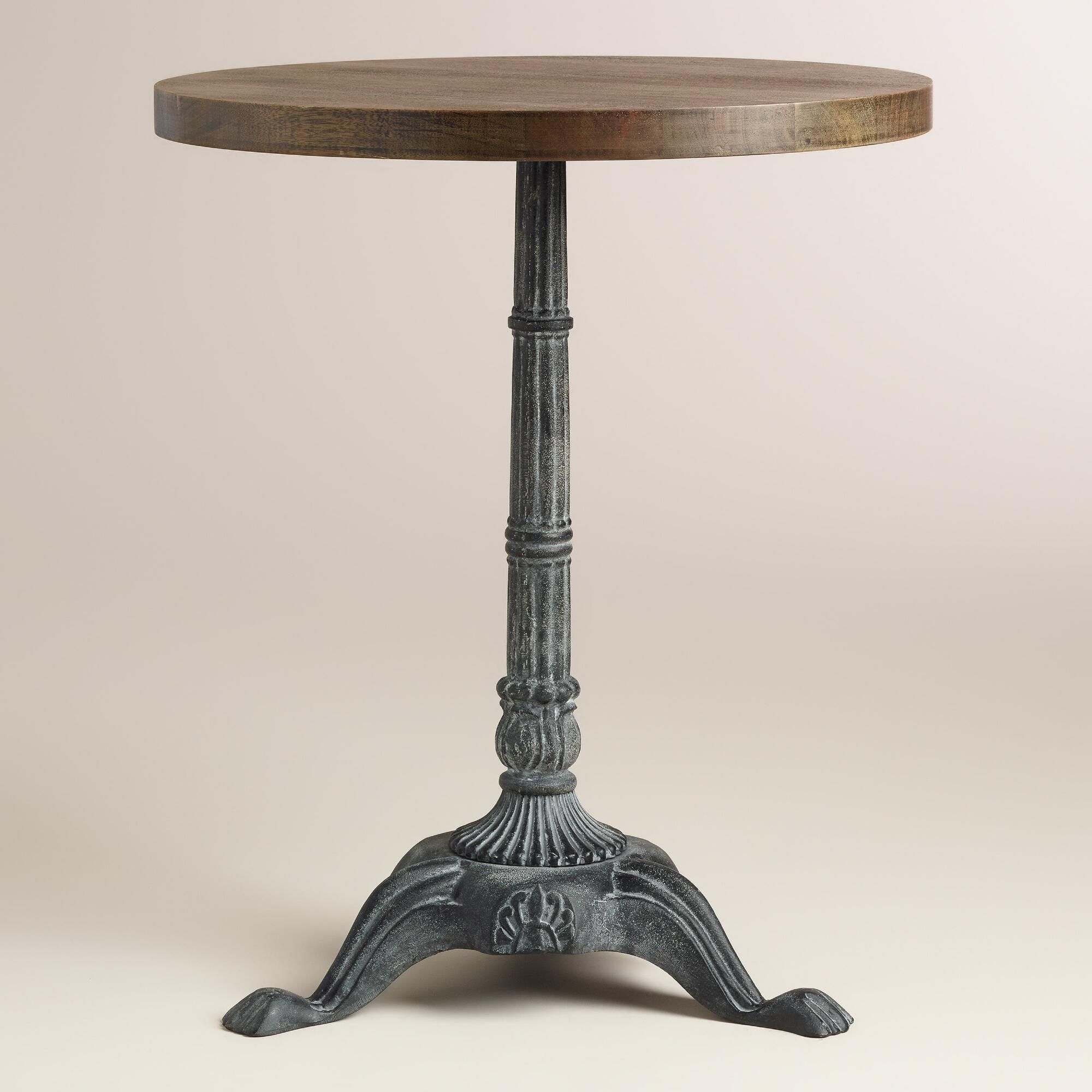 Metal And Wood French Bistro Accent Table | World Market For Most Up To Date Rae Round Marble Bistro Tables (View 8 of 25)