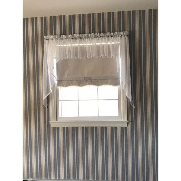 Micro Check 2 Tone Cream Semi Sheer Window Curtain Tiers Or With Micro Striped Semi Sheer Window Curtain Pieces (View 2 of 25)
