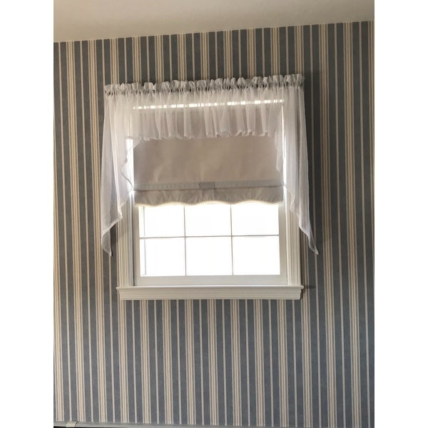 Micro Check 2 Tone Cream Semi Sheer Window Curtain Tiers Or With White Micro Striped Semi Sheer Window Curtain Pieces (Image 8 of 25)