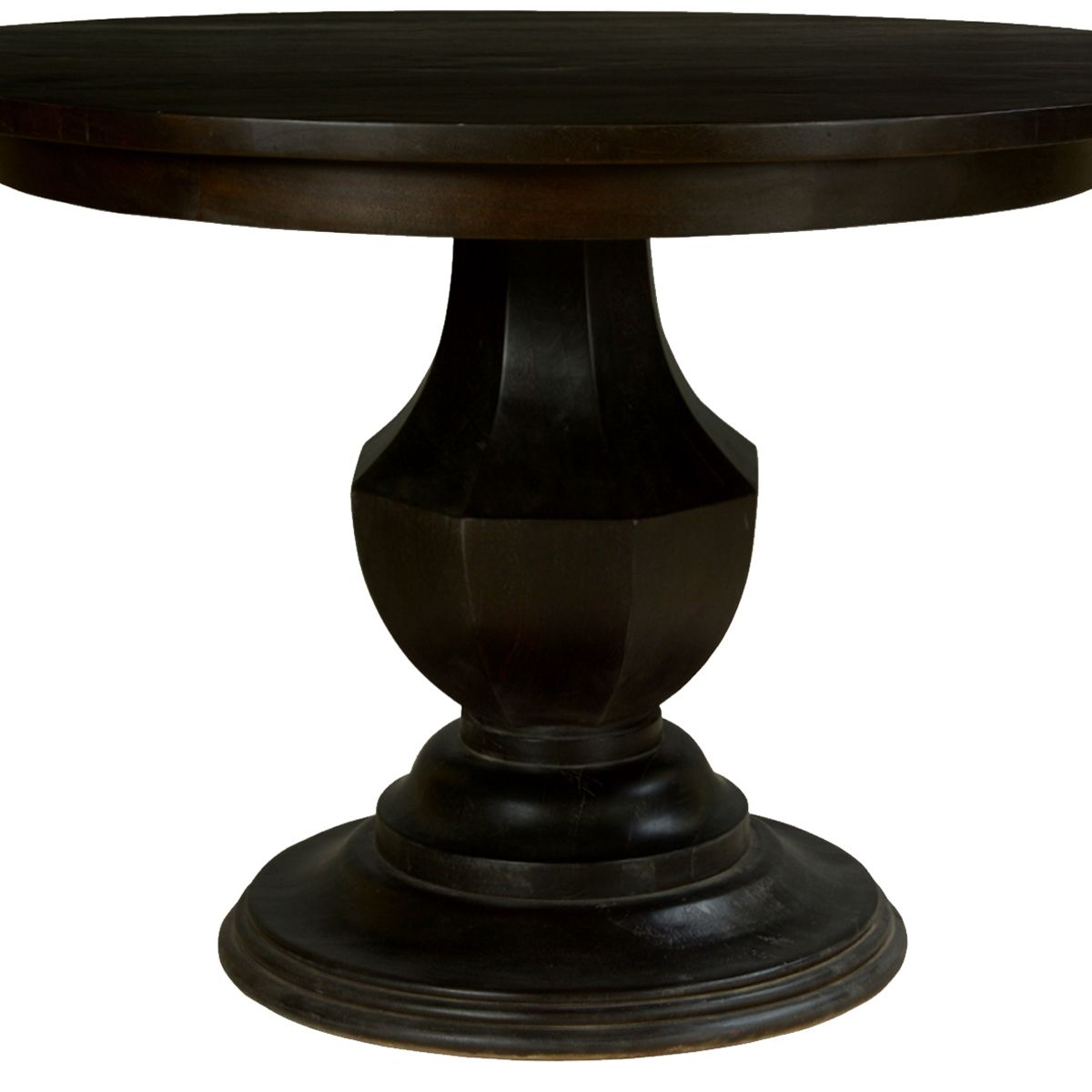 Midnight Solid Mango Wood Round Pedestal Dining Table | What Regarding Best And Newest Warner Round Pedestal Dining Tables (View 2 of 25)