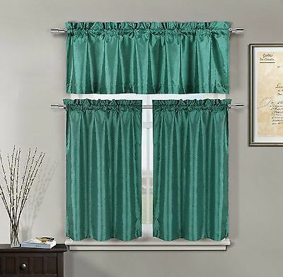 Minka Faux Silk Teal Kitchen Window Curtain 3 Piece Set Valance & Tiers | Ebay Pertaining To Faux Silk 3 Piece Kitchen Curtain Sets (View 11 of 25)