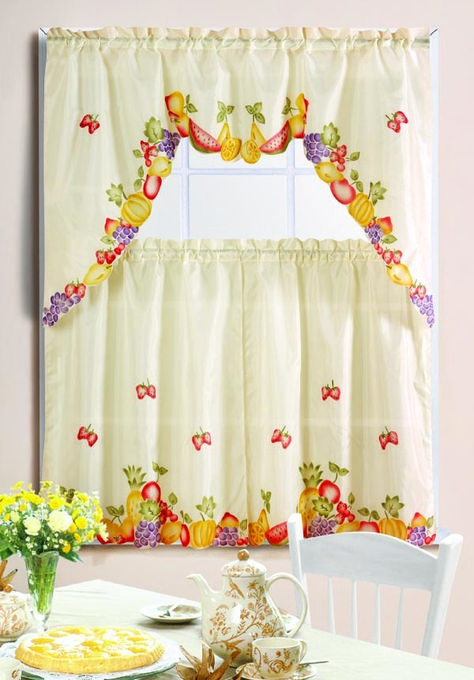 Mixed Fruit Printed Kitchen Curtain Set | Kitchen Curtains In Floral Watercolor Semi Sheer Rod Pocket Kitchen Curtain Valance And Tiers Sets (View 10 of 25)