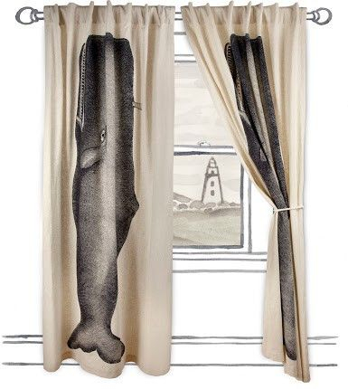 Moby Window Curtain In Ink Designthomas Paul | Boyzzz With Regard To Vintage Sea Shore All Over Printed Window Curtains (Image 17 of 25)