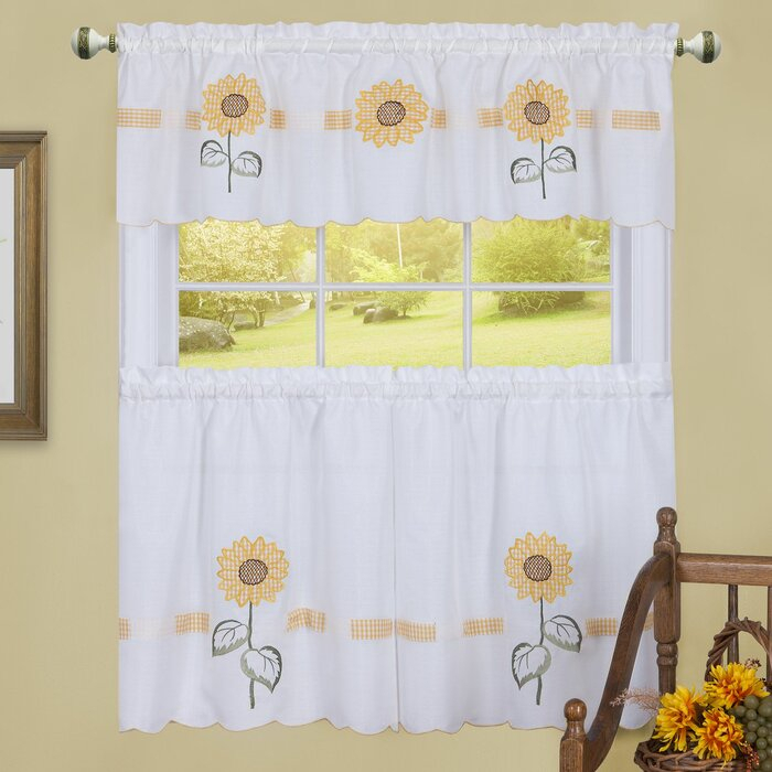 Modbury Sun Blossoms Embellished Tier And Valance Kitchen Curtain Set Intended For Urban Embroidered Tier And Valance Kitchen Curtain Tier Sets (View 20 of 25)