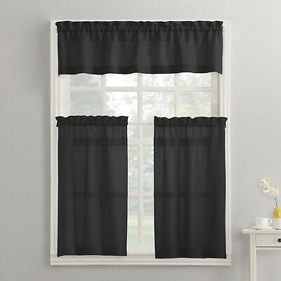 Modern Classic Black 3 Piece Kitchen Curtains Set Valance & Tiers Cafe Curtains 766894623359 | Ebay Regarding Traditional Two Piece Tailored Tier And Valance Window Curtains (View 11 of 25)